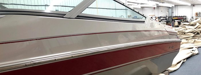 customer boat waiting to get custom fitted