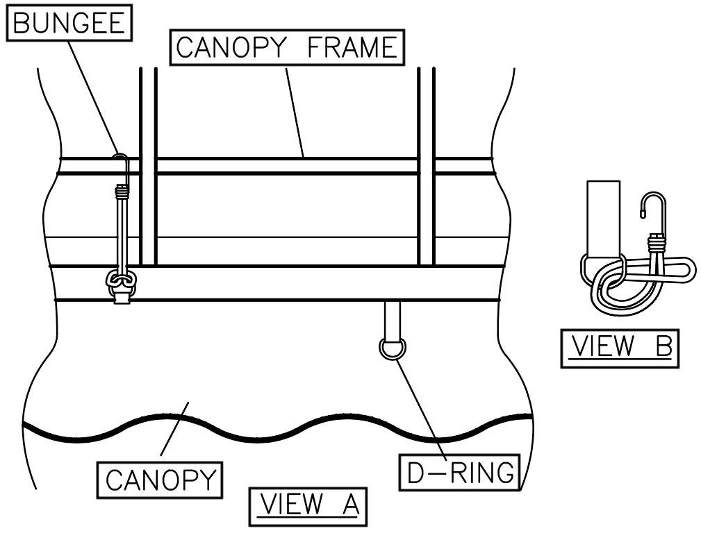 View A and B: Replacement Boat Lift Canopy Installation Instruction